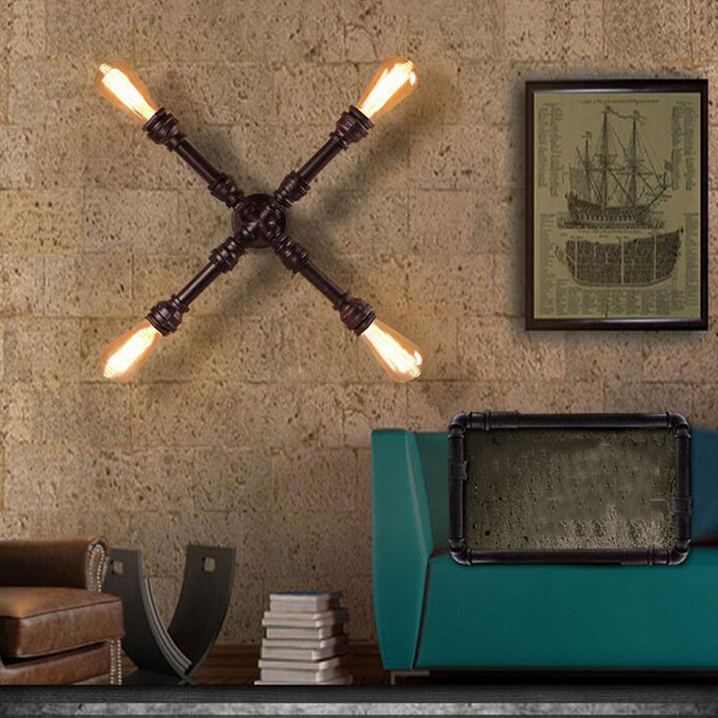 Loft retro cross iron water pipe wall lamp,vintage lamps bedroom cafe restaurant corridor aisle bar Basement Church pub lamp bra loft retro iron pipe study industrial wind cafe theme hotel restaurant bedroom corridor lamp fashion table lamps sg6