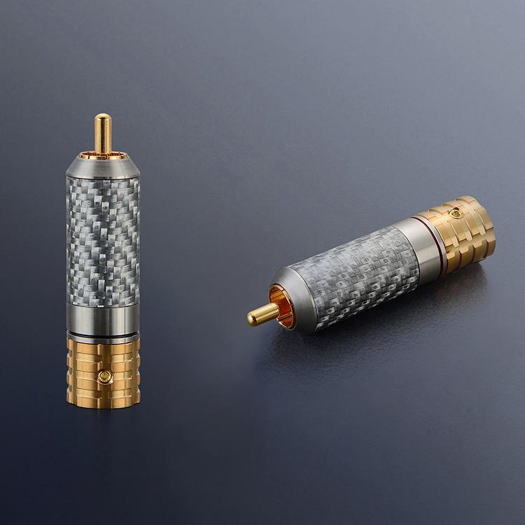 4 PCS VR108G Viborg Cobre Puro De Fibra De Carbono RCA Dessoldar versão parafusos de bloqueio 24 K banhado a Ouro RCA De Cobre Puro RCA