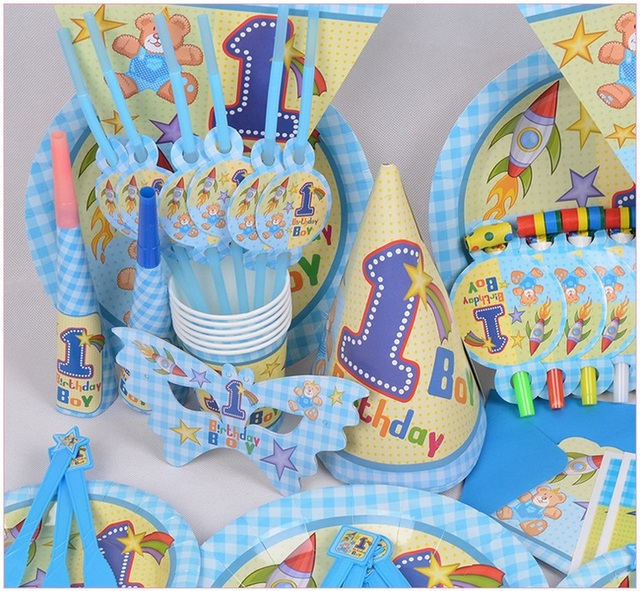 90pcs 1 Year Old Boy Theme Package Decorating Supplies 6 People Birthday Party