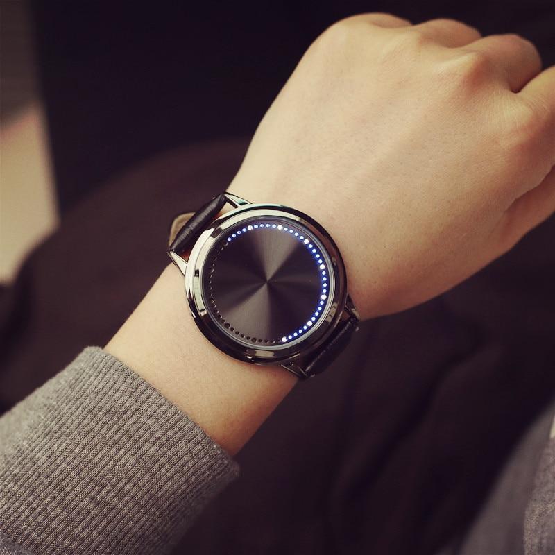 Creative Men Watch Unique Deisgn Touch Screen LED Leather Strap Women Couple Watches Quartz Sports Smart Electronics Reloj Mujer