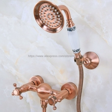 Wall Mounted Antique Red Copper Bathroom Faucet Bath Tub Mixer Tap With Hand Shower Head Shower Faucet Sets Nna296