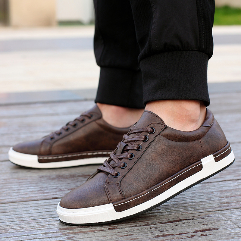 Luxury Men Sneakers Black Brown Lace Up Flats Male EY07-43 Casual Shoes Comfortable PU Leather Loafers Plus Size 40-45