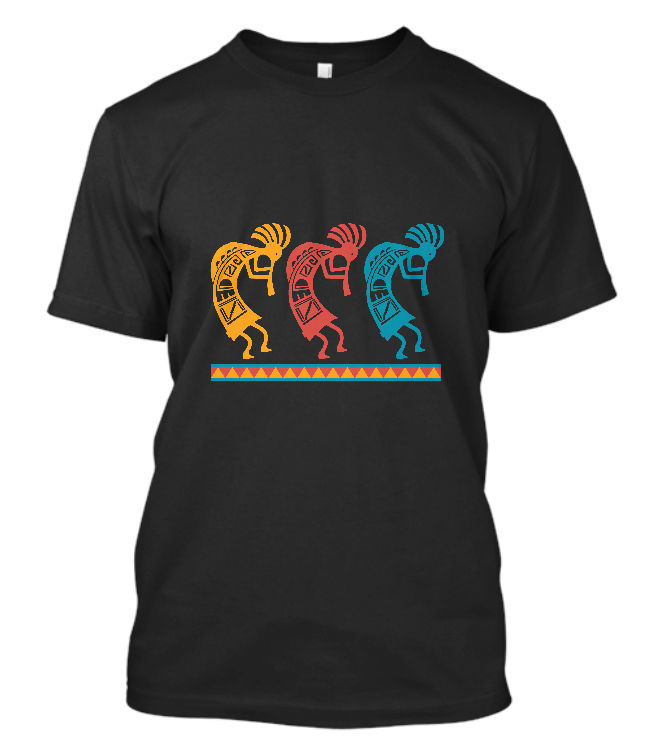 New Kokopelli Dance T-SHIRT Indian Native American Flute Southwest Concert Shirt Short Sleeve O-Neck Cotton T shirt