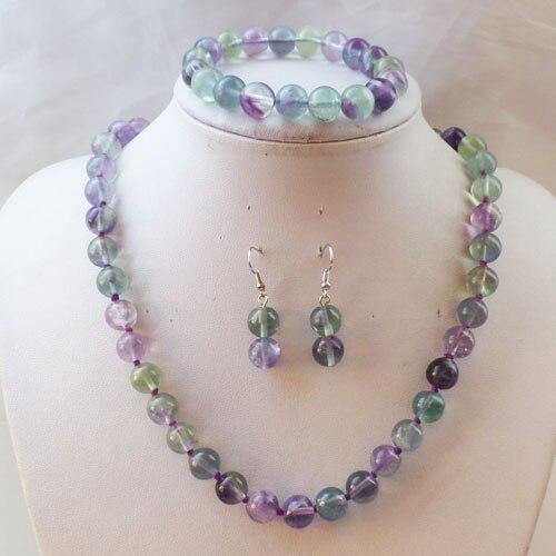 Free Shipping Beautiful 10mm Rainbow Fluorite Round Beads Necklace Set (Min.order 10$ mix)