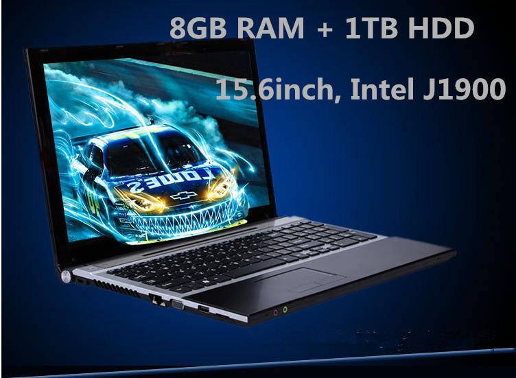 Prix pour 15.6 pouces 8 GB RAM + 1 TB HDD ordinateur portable Intl J1900 Quad core caméra WIFI windows 8 ordinateur portable PC