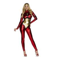 Wholesale Sexy Halloween Superhero Costume Red Fashion Christmas Costume Hero Latex Catsuit
