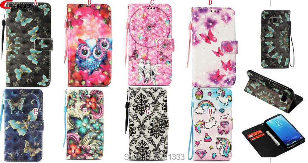 C-ku 3D Bling Strap Wallet Leather Pouch For LG K8 2018 K10 For Xiaomi 5X Redmi 4A 5A Note 4X Flower Stand ID Card Cover 100PCS