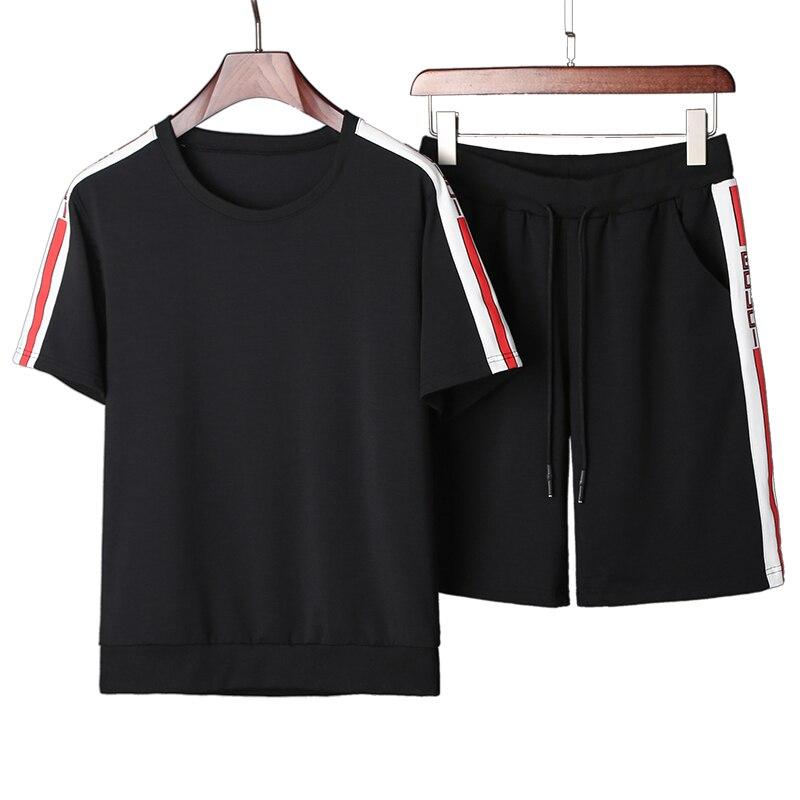 YWSRLM 2018 Summer Mens T-shirt Tracksuit Short Sleeve T shirt+Shorts Two Piece Men Pure ...