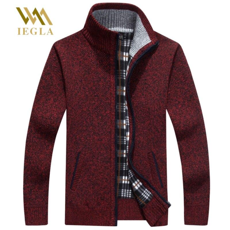 Men's Sweater Clothing Autumn / Winter  Plus Size Zipper Knitwear Sweaters Male Stand Collar Cardigan Jacket Coat Outwear