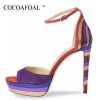 COCOAFOAL Women Purple High Heels Sandals Plus Size 33 43 Wedding High Heels Sandals Black Sexy Summer Peep Toe Purple Pumps