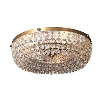 Led Barock Messing Kristall Vintage Stil Kupfer Material Klar Kristall Glas Decke Lampe Runde Kostenloser Versand