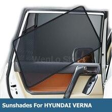 цена на 4 Pcs Magnetic Car Side Window Sunshade Laser Shade Sun Block UV Visor Solar Protection Mesh Cover For HYUNDAI VERNA 2017-2019