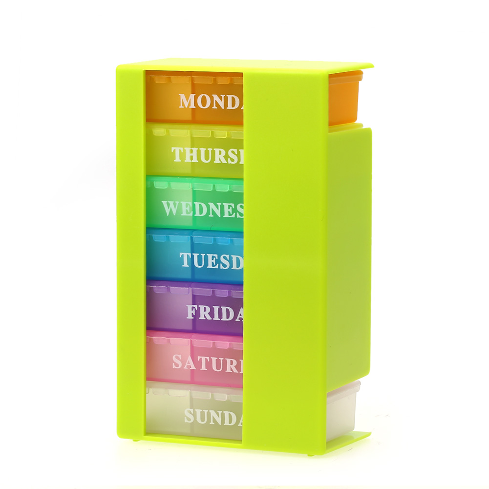 colorful pill box 7 day week medicine tablet drug holder storage box pillbox case organizer. Black Bedroom Furniture Sets. Home Design Ideas