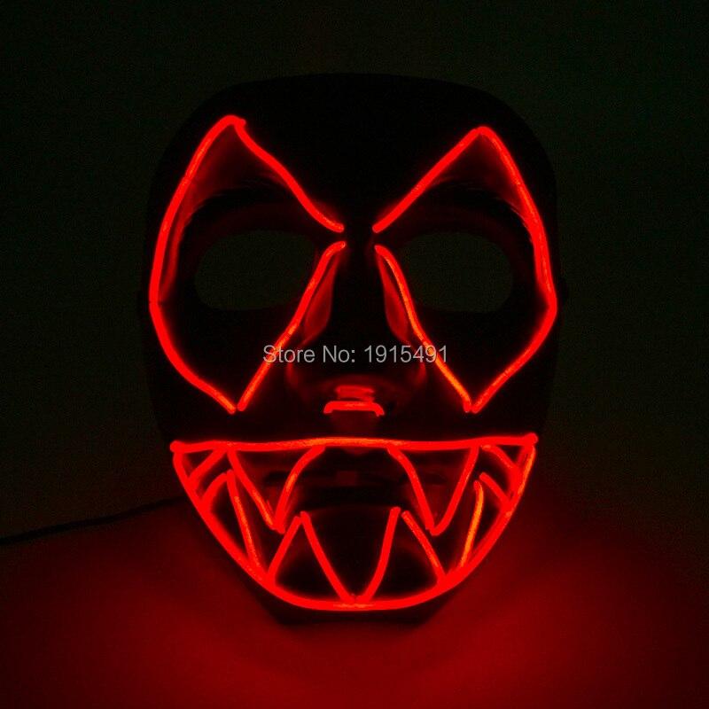 Diy Glowing Jagged Mask Easter Day Decor Led Strip Scary Clown Mask Festival Novelty Favors EL Cold Light Evil Mask Music Active