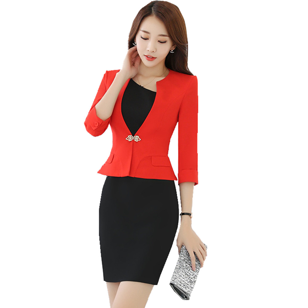 Fmasuth Women Business Suit Elegant Office 2 Pieces Set 3/4 Sleeve Blazer and Short Sleeve Dress Ladies Suit Set HR-1720
