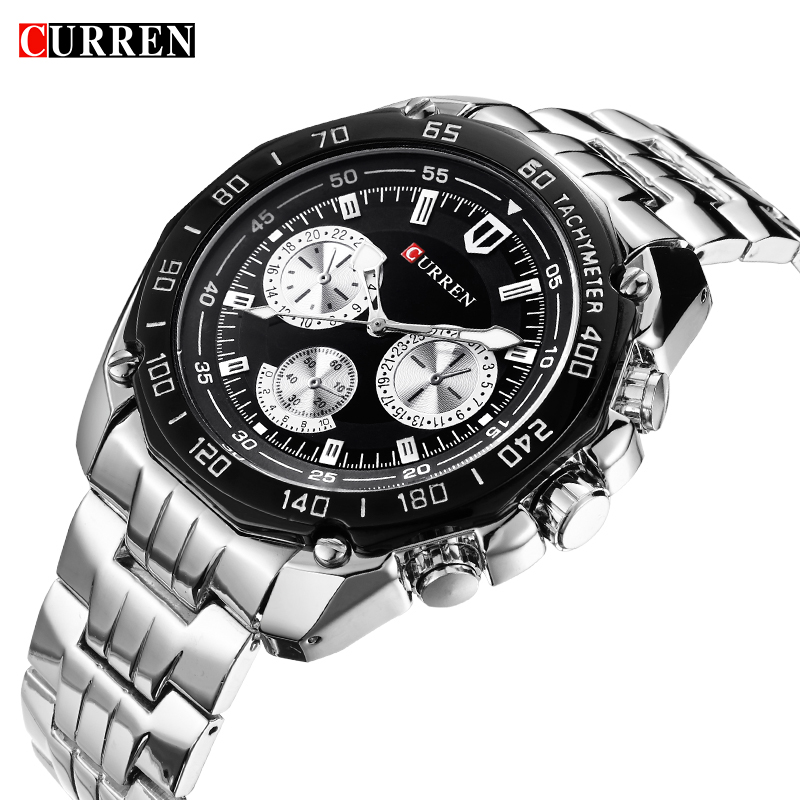 Curren Brand Fashion Quartz Watch Men's Casual waterproof Military Army Wristwatch relojes hombre 2017 New Full steel Watch 8077 fashion black full steel men casual quartz watch men clock male military wristwatch gift relojes hombre crrju brand women watch