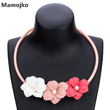 Mamojko New Ethnic Original Simple Three Cloth Flowers Pendant Rope Necklace for Women Fashion Bohemian Statement Collar Jewelry(China)