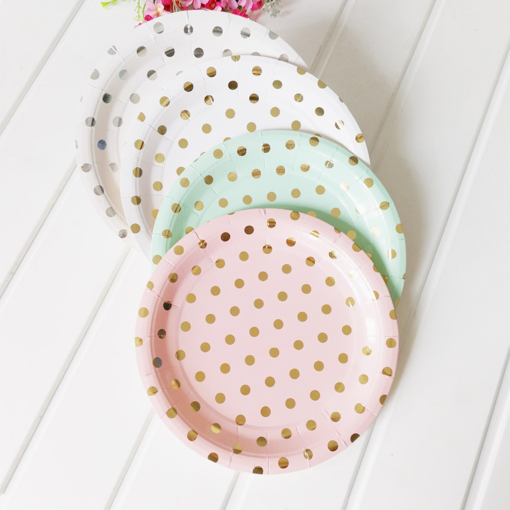 Disposable Plates Gold Pink Mint Green Dot Striped 7 9 Paper Plate