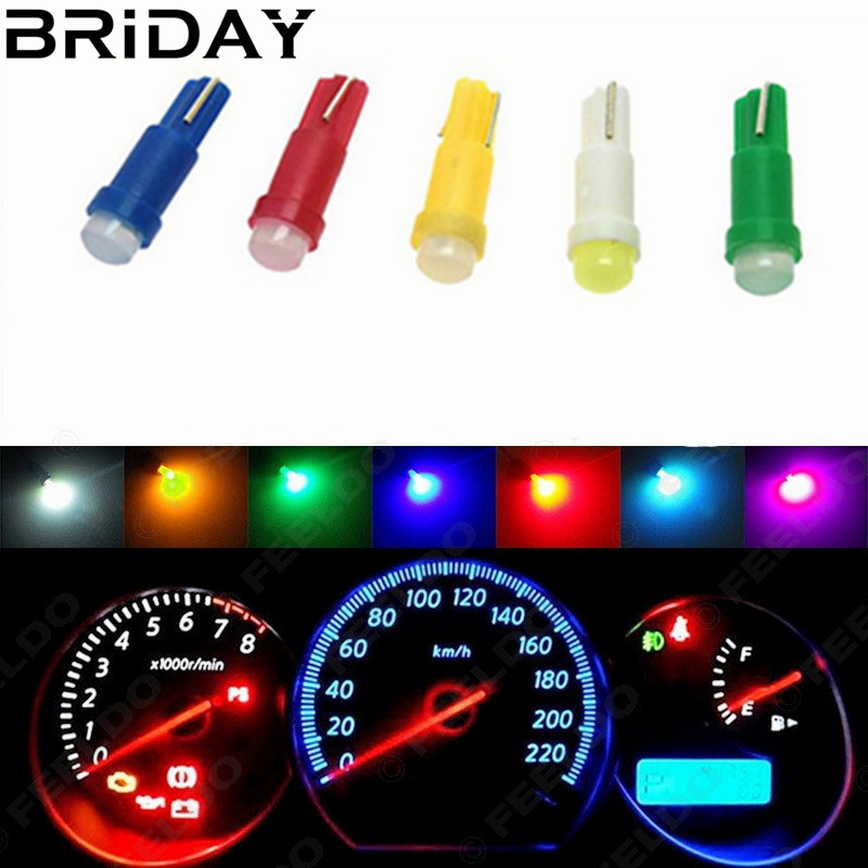 10PCS T5 COB Dashboard Warning Indicator Instrument Gauge Lamps  ceramic Led Wedge Car  Auto lights Bulb 12V white red yellow 4pcs positive earth blue ba7s led dashboard gauge warning switch bulb 12v red white green amber glb281