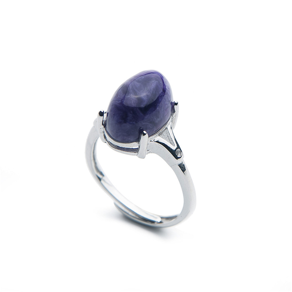 925 bagues en argent Sterling bijoux en pierres précieuses perle de Charoite naturelle modèle Simple femmes anneau