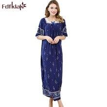 Fdfklak 2018 Summer Nightgown Night Dress Nighties For Women Sleeping Dress Cotton Nightgowns Women Plus Size Sleepwear Q1005