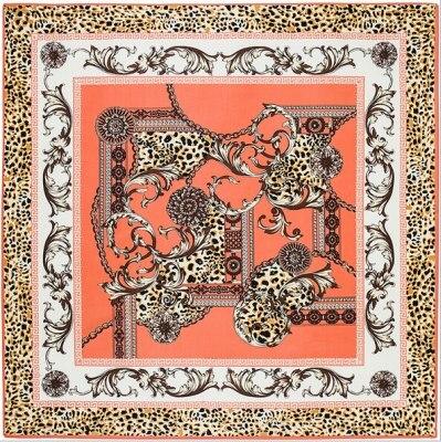 [POBING]100cm*100cm Twill Silk Women 100% Silk Square Luxurious Leopard Flower Chain Print Silk   Scarf   Femal High Quality Shawl