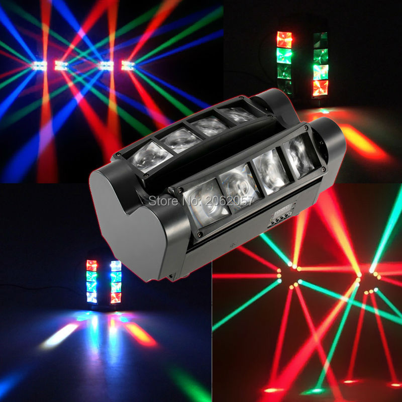 Hot sale 8*10W mini led dmx spider light RGBW moving head beam light disco dj professional effect stage lights for club new stage lights led full color spider lamp eight eyes beam of light the effect of light bar eight head lamp light beam dj