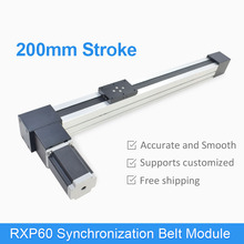 цена на RXP60 200 mm Synchronization Belt Drive Linear Module Guide Motion Rail Motorized Slide Table Actuator CNC Linear Position Kit