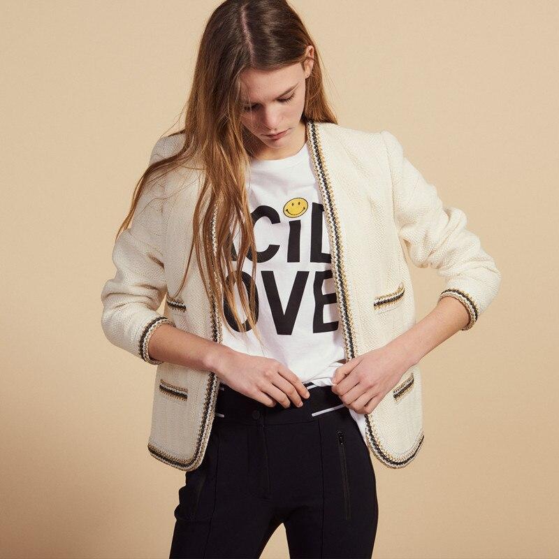 2019 New Women Short Coat Small Fragrance Style Fringe Tweed Open Stitch Suit Jacket