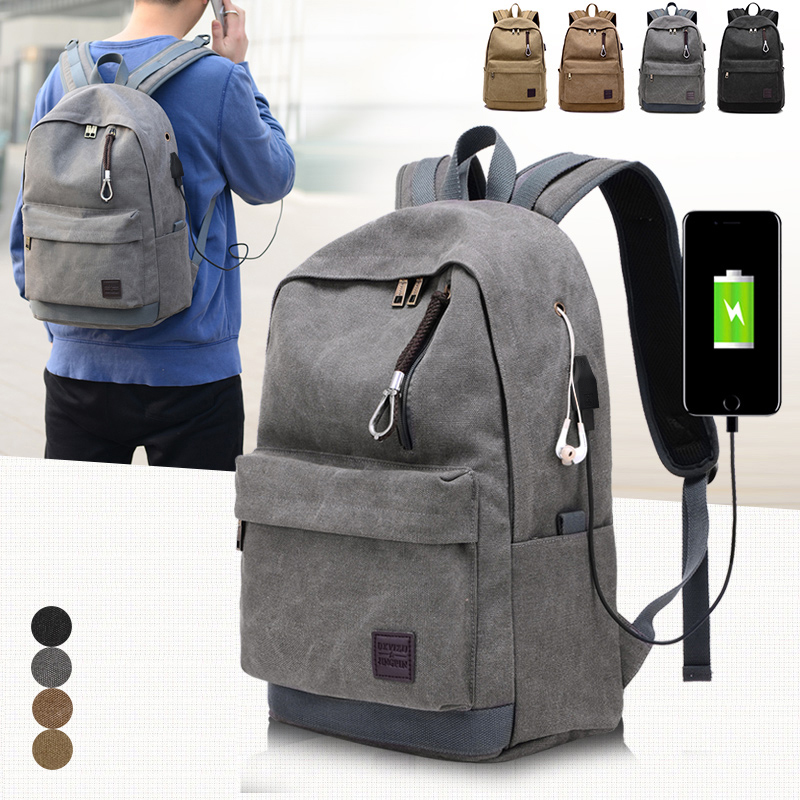 9c9607d63261 External USB Charge Canvas Backpack Notebook Computer Bag Men Women  Waterproof Laptop Backpack College Student Bag for Teenagers-in Backpacks  from Luggage ...
