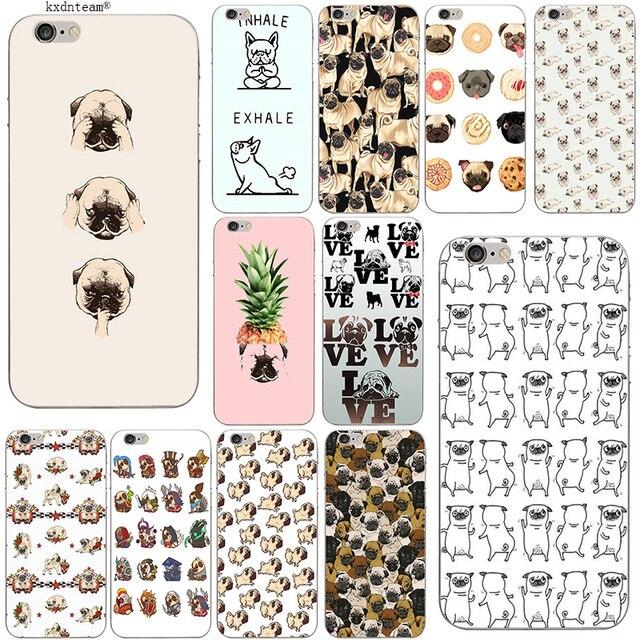 Animal bonito Pug Casos de Telefone Celular Slim Macio TPU Capa De Silicone para o iphone 8 7 6 6 S Plus X 5 5S SE 5C 4 Shell Fundas Coque