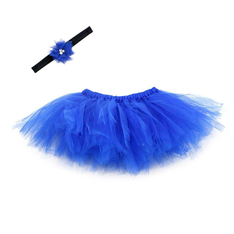 NoEnName-Null милый, для новорожденных девочек юбка-пачка и повязка на голову с цветком, наряд для фотосессий, Рождественский Костюм - Цвет: Dark Blue