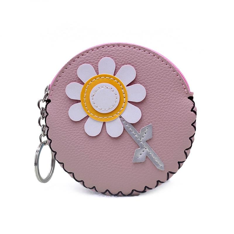 New 2018 Cute Flower PU Leather Coin Purse Women Handmade Zipper Change Purse Wallet Girls Pouch Small Money Bag For Kids Gift
