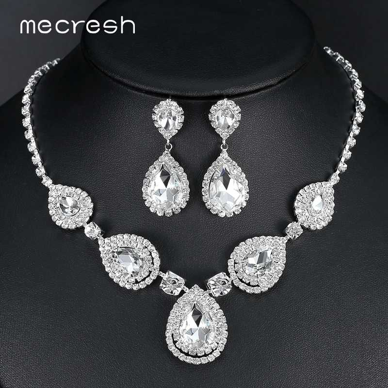 Mecresh Silver Color Teardrop Bridal Jewelry Sets Crystal Wedding Necklace Earrings Sets Engagement Jewelry Accessories MTL506