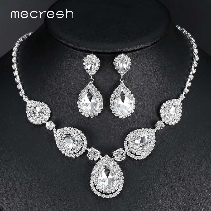 Mecresh Silver Color Teardrop Bridal Jewelry Sets Crystal Wedding Necklace Earrings Sets Engagement Jewelry Accessories MTL506 mecresh attractive geometric bridal bracelets for women silver color crystal link party ladies pulseras wedding jewelry msl339