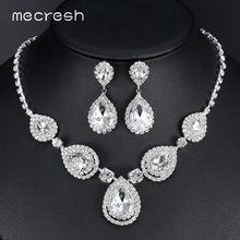 hot deal buy mecresh clear big waterdrop bridal jewelry sets 2017 hot sale crystal necklace earrings sets wedding jewelry for women mtl506