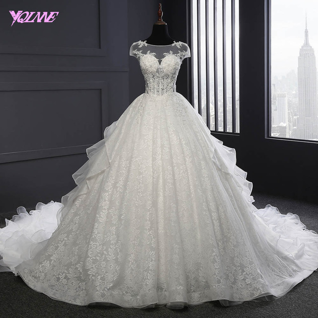 YQLNNE Vestido De Noiva 2018 Lace Ball Gown Wedding Dress V Back Lace-up Bridal Dresses