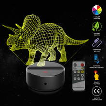 Triceratops Shape 3D Night Light 7 Color Change Touch Switch LED Night Light Acrylic Desk Lamp Atmosphere Lamp Novelty Lighting