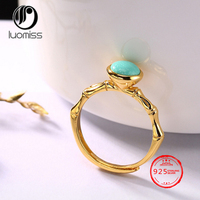 S925 Sterling Silver Rings natural stone inlaid ring Korean wild female open ring wholesale