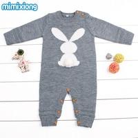 Baby Girl Bodysuits Winter Warm Newborn Boys One Piece Jumpsuits Cute Rabbit Knit Long Sleeve Body
