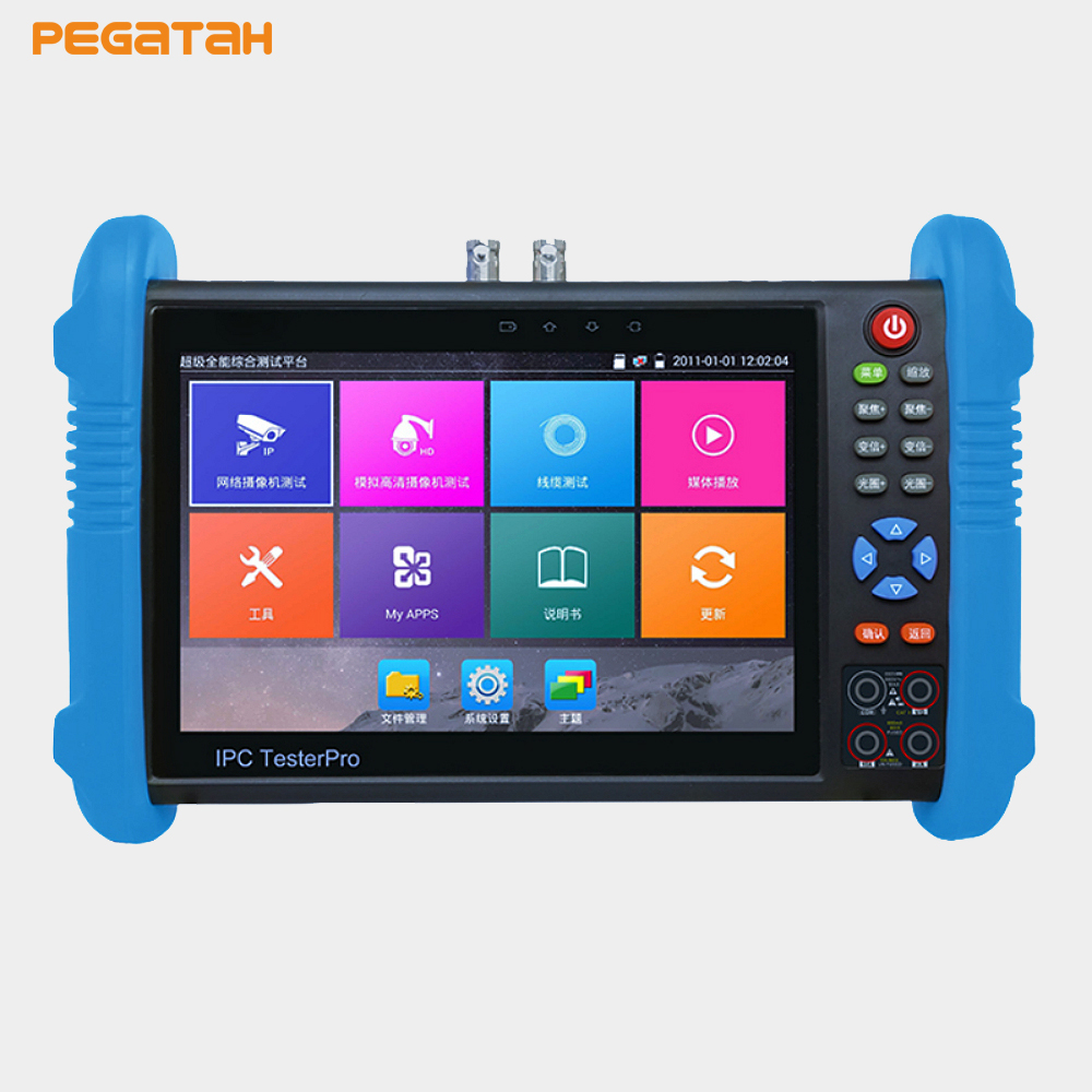 New 7 inch 1280*800 screen H.265 H.264 4K IP CCTV Tester CVBS 8MP TVI 8MPCVI 5MP security cameraRJ45 Cable ...