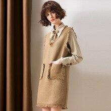 Women Dress Set Autumn Winter 2018 New Bow Turn-Down Collar Long sleeve Shirt + Tweed Elegant V Neck Tassel Vest 2 PCS