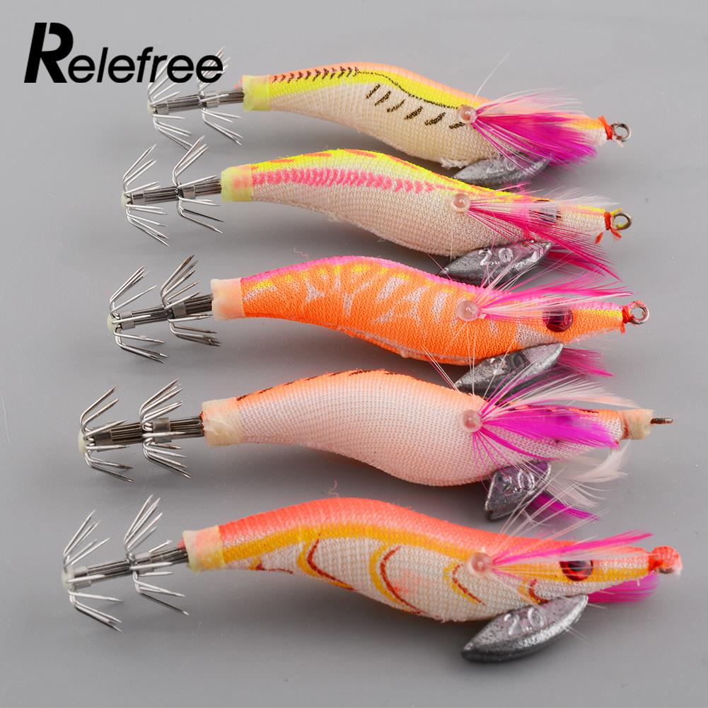 Relefree 5 pcs jigs lure shrimp flick luminous squid hooks for Glow in the dark fishing spinners