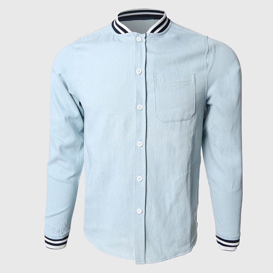 Men Solid Denim Shirts Cool Long Sleeve Shirts Contrast