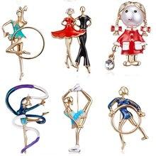 RINHOO Мода Спорт гимнастика Кружение лента для девочек танцевальная Брошь Золото Pin-цвет эмали броши леди женская одежда ювелирные изделия