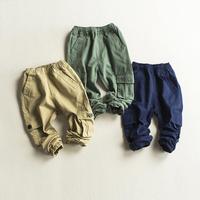 Spring Autumn Boys Cargo Pants Kids Solid Khaki Green Dark Blue Fashion Trousers Baby Boy Casual