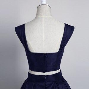 Image 5 - Eenvoudige Knielengte Homecoming Dress 2020 Twee Stukken Navy Satijn Homecoming Prom Jurk Afstuderen Jurk Vestido De Formatura
