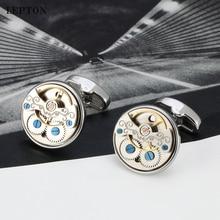Augstas kvalitātes Tourbillon kustība Dizaina aproču pogas vīriešiem Kāzu līgavainis Lepton Pulkstenis Steampunk Gear Aproces saites Relojes gemelos