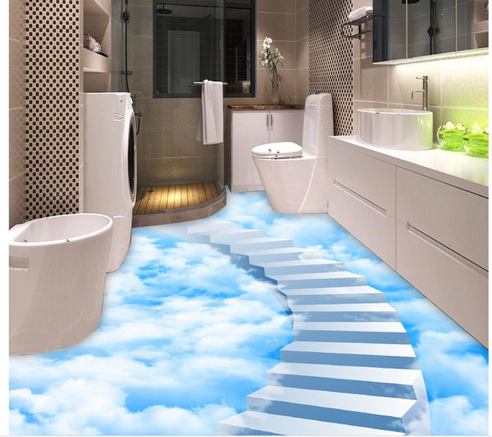 Wallpaper for floor clouds step ladder bathroom floor for Wallpaper pvc 3d