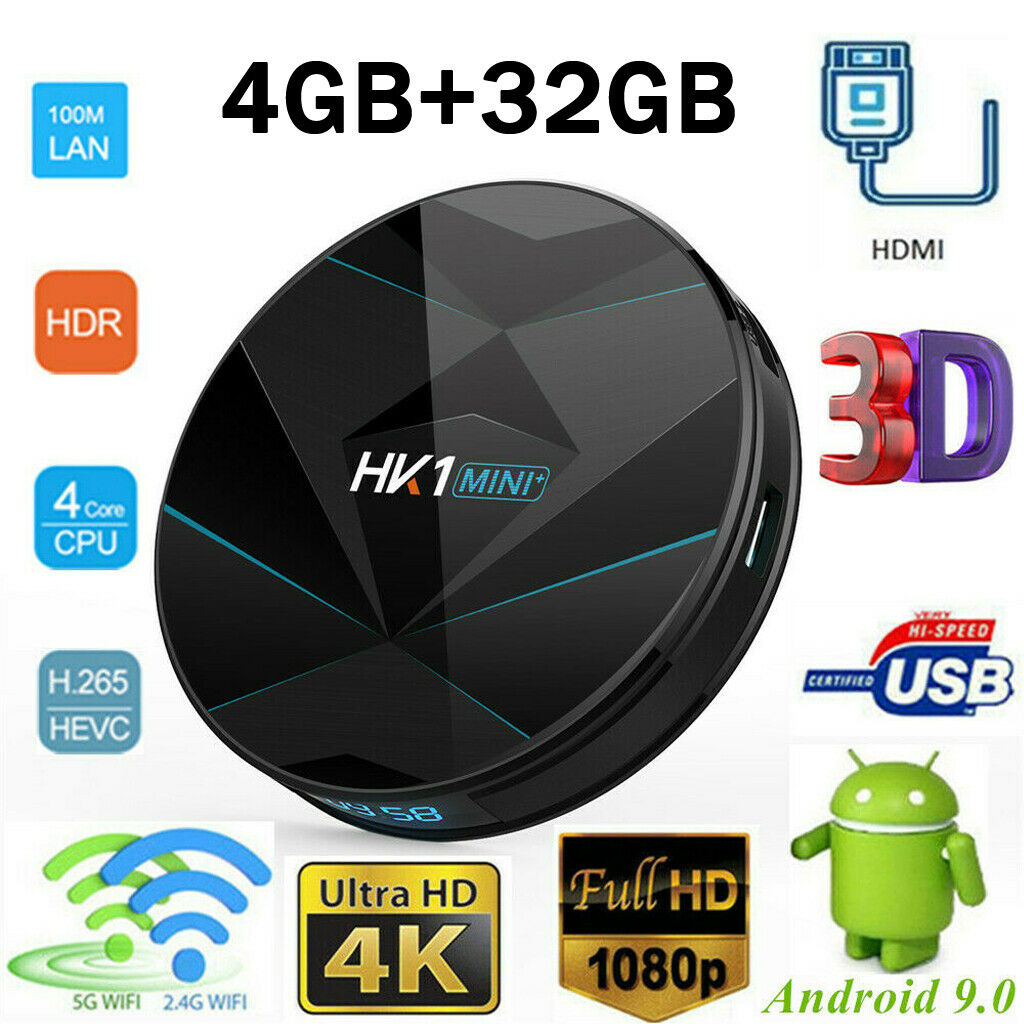 Multi-fonction HK1 Mini Plus RK3318 4 GB DDR3 RAM 32 GB ROM 5G WIFI bluetooth 4.0 Android 9.0 H.265 VP9 TV Box Google Play Store
